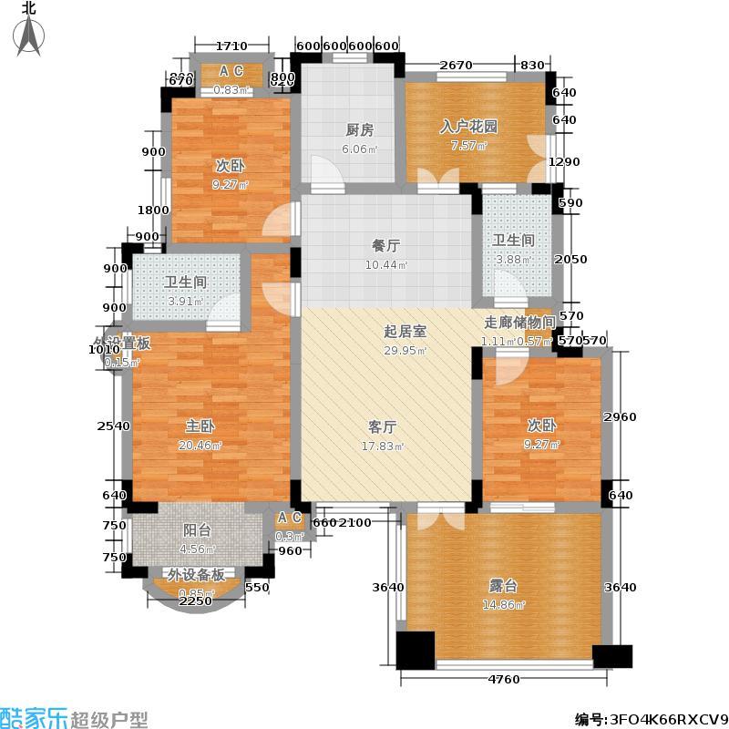 中国诺贝尔城北入户退台花园洋房三层HB-B3户型