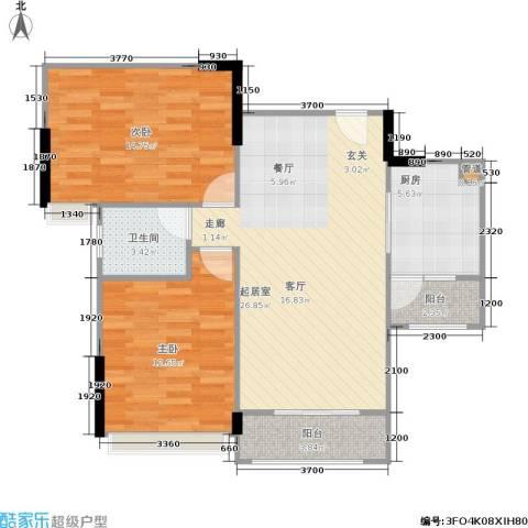广电江湾新城2室0厅1卫1厨91.00㎡户型图