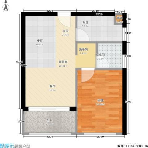 广电江湾新城1室0厅1卫1厨55.00㎡户型图