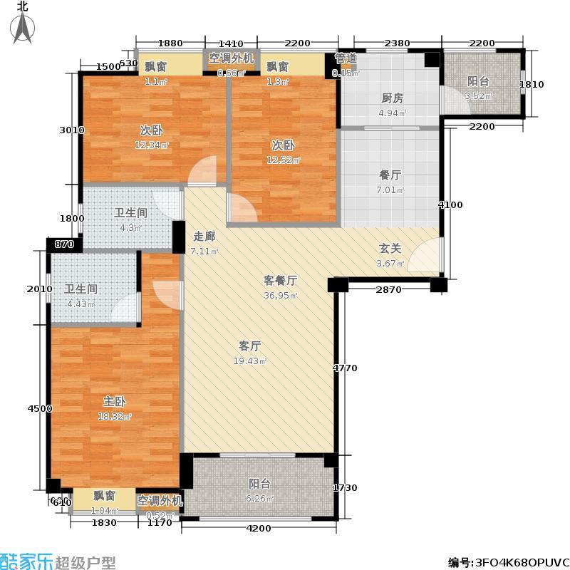 山水英伦115.61㎡011三房两厅两卫户型