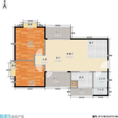 橡树园2室1厅2卫1厨76.18㎡户型图