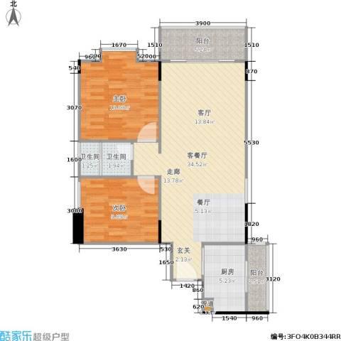 橡树园2室1厅2卫1厨79.94㎡户型图