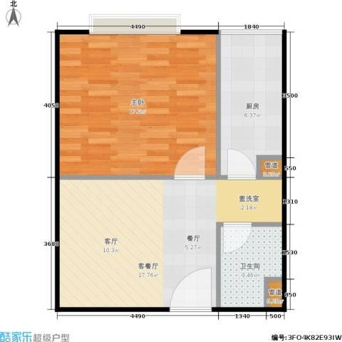 颐美会现代城1室1厅1卫1厨45.33㎡户型图