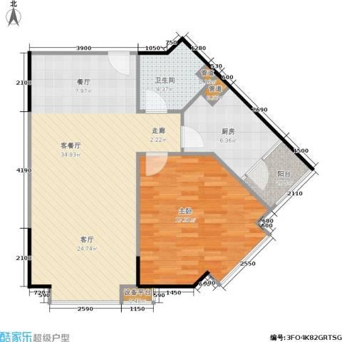 东门天厦1室1厅1卫1厨66.73㎡户型图