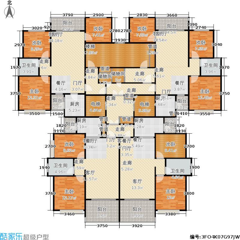 恒大绿洲11-14号楼2单元标准层户型