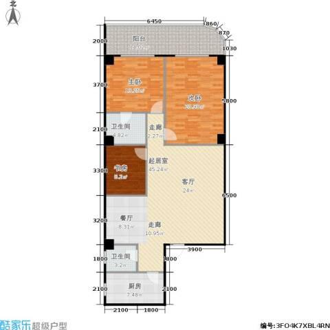 鸿盛大厦3室0厅2卫1厨150.00㎡户型图