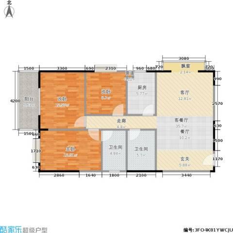 金叶长乐居3室1厅2卫1厨121.00㎡户型图