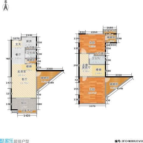 紫薇尚层2室0厅2卫0厨71.00㎡户型图