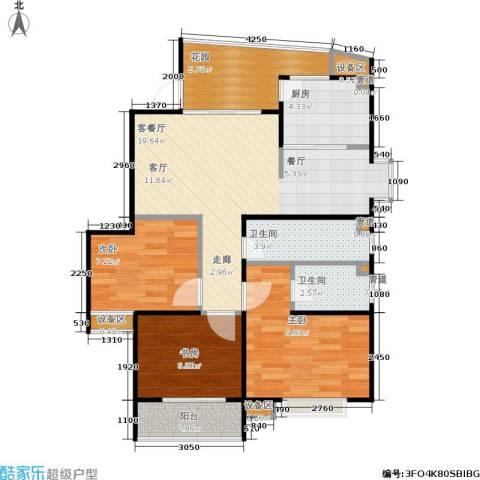 君逸左岸3室1厅2卫1厨100.00㎡户型图