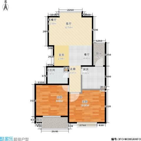 君逸左岸2室1厅1卫1厨80.00㎡户型图