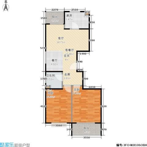 君逸左岸2室1厅1卫1厨87.00㎡户型图