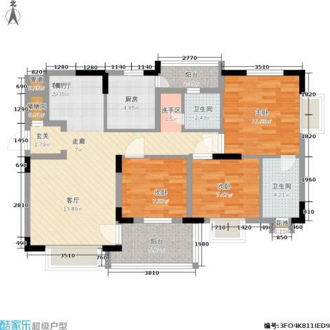 禾风雅筑3室1厅2卫1厨89.00㎡户型图