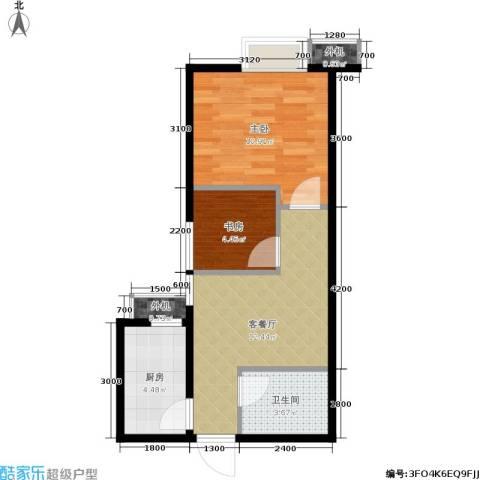 东泰城市之光2室1厅1卫1厨49.00㎡户型图