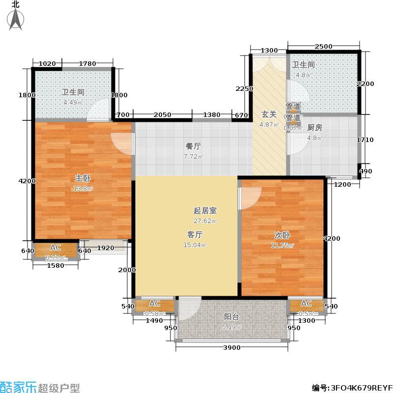 长安壹品93.97㎡长安壹品户型图K3户型两室两厅两卫(2/16张)户型2室2厅2卫