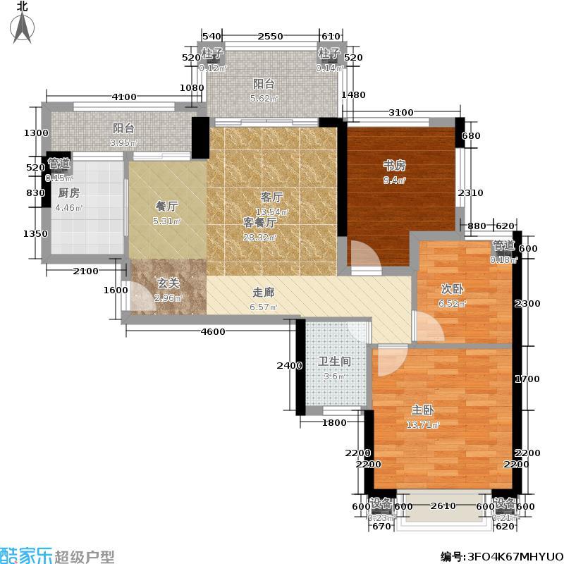 绿景公馆186688.00㎡绿景公馆1866户型图建筑面积约:88平米(4/8张)户型3室2厅1卫