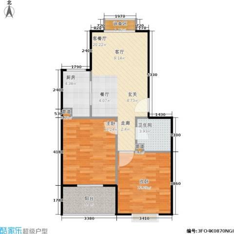 七里晴川2室1厅1卫1厨73.00㎡户型图