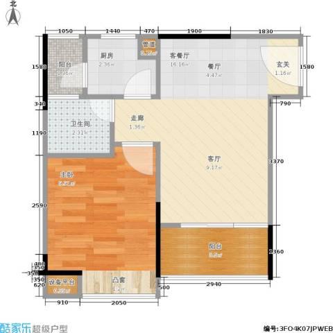 丹枫雅苑1室1厅1卫1厨40.00㎡户型图