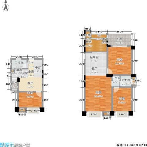 中江国际花城3室0厅2卫1厨94.72㎡户型图