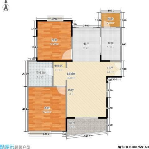 信政天鹅湾2室0厅1卫1厨90.00㎡户型图