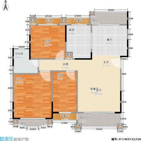 丹霞翠微苑3室1厅1卫1厨113.00㎡户型图