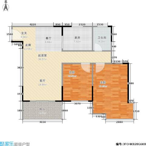 上林国际2室0厅1卫1厨91.31㎡户型图