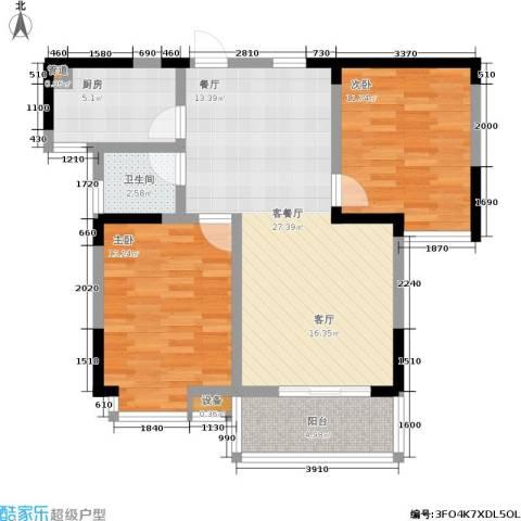 丽星景园2室1厅1卫1厨80.00㎡户型图