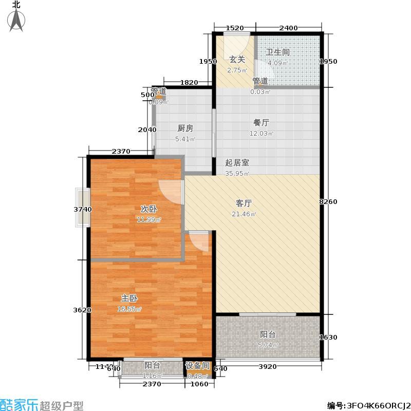 府东公园6栋107.56㎡D3户型2室2厅1卫