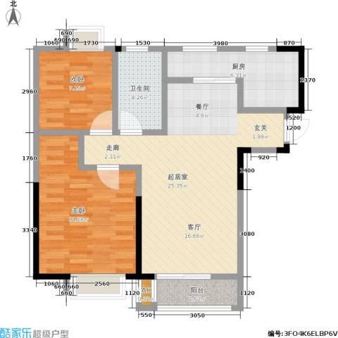 朗钜天域2室0厅1卫1厨90.00㎡户型图