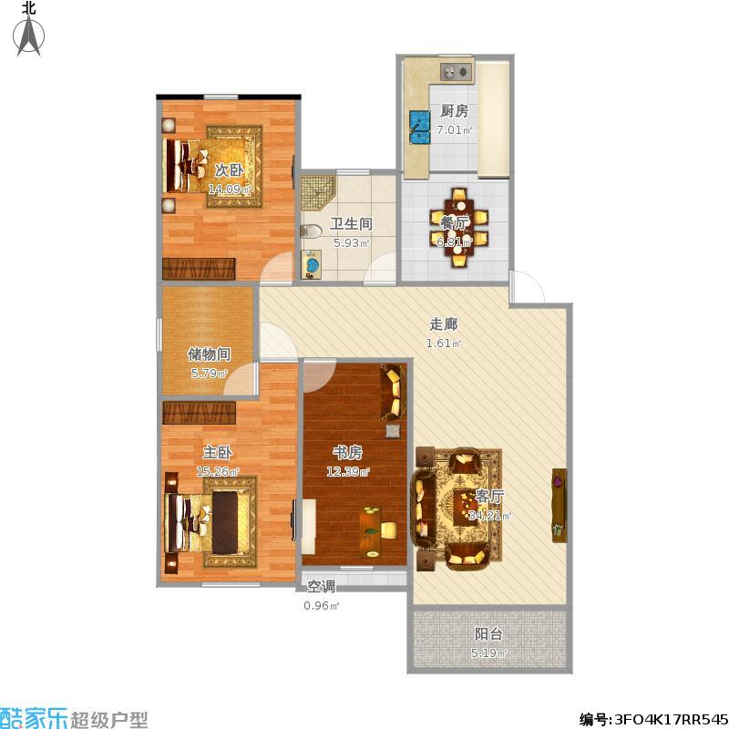 上流家园115平方三室两卫一厅