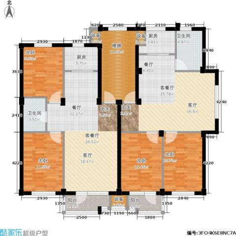 翠岛经典4室2厅2卫2厨189.00㎡户型图