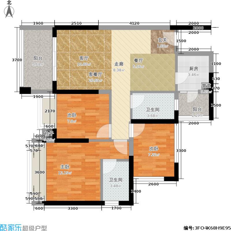 绿景公馆186688.00㎡绿景公馆1866户型图建筑面积约:88平米(2/8张)户型3室2厅2卫