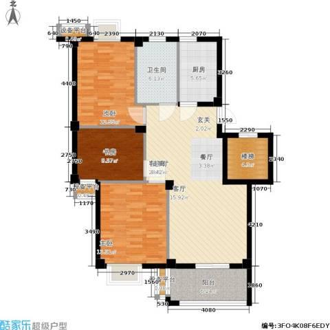 君悦龙庭3室1厅1卫1厨100.00㎡户型图