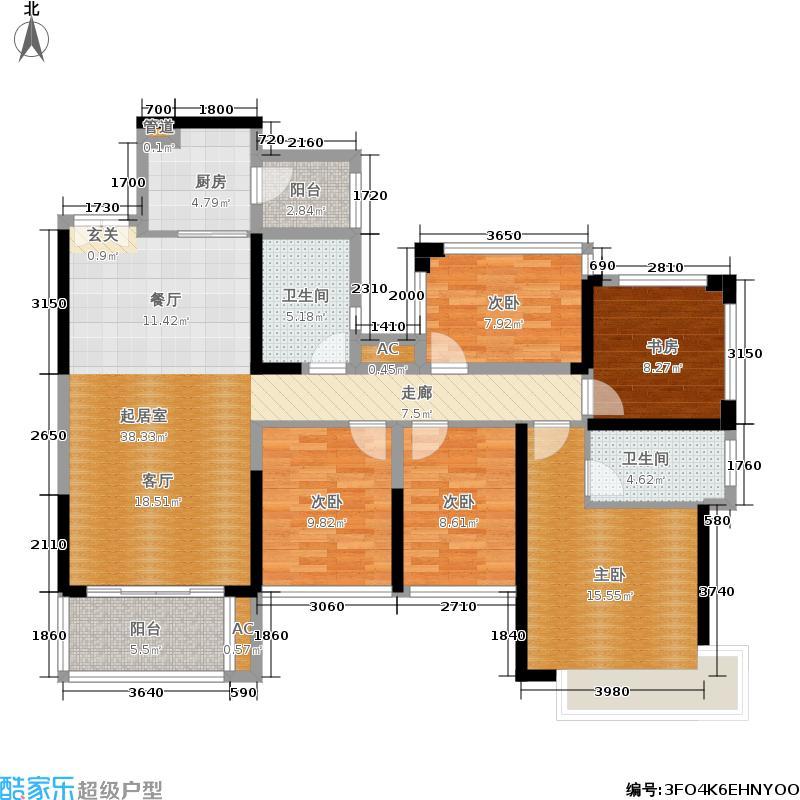 绿景香颂121.00㎡绿景香颂户型图A_F座C型5房2厅2卫121平方米(13/16张)户型5室2厅2卫
