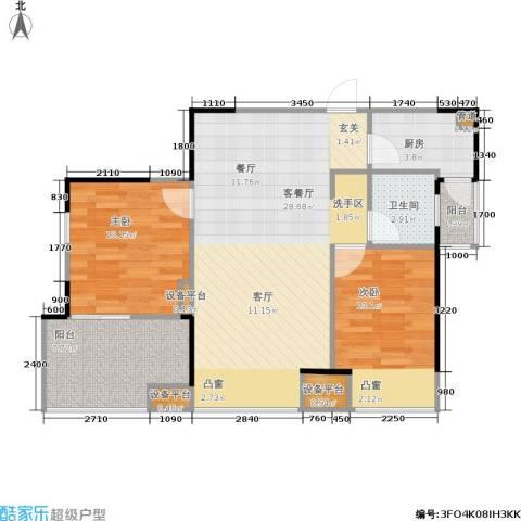紫薇尚层2室1厅1卫1厨71.00㎡户型图