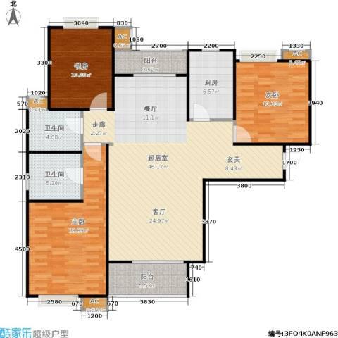 市政馨苑3室0厅2卫1厨126.00㎡户型图