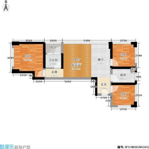 绿景香颂3室0厅1卫1厨60.00㎡户型图