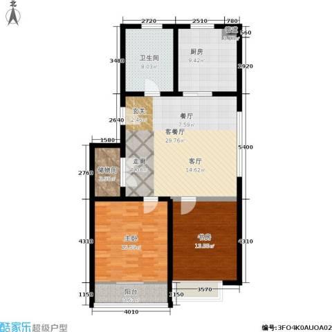 御景山庄2室1厅1卫1厨83.57㎡户型图