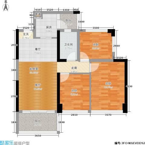 绿景香颂3室0厅1卫1厨84.00㎡户型图
