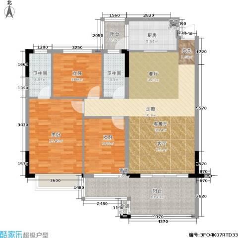 新天美地花园3室1厅2卫1厨116.00㎡户型图