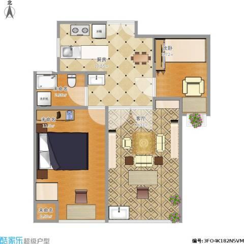 绿地苏河源2室1厅1卫1厨101.00㎡户型图