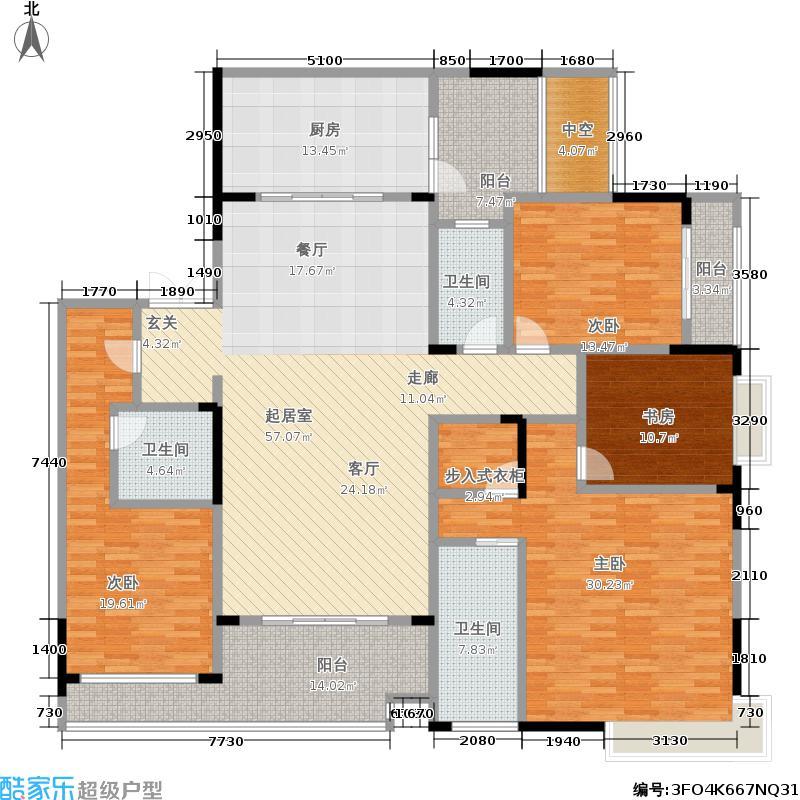 寰宇天下221.00㎡一期观澜苑7幢标准层A户型3室2厅3卫1厨 套内面积约201.00㎡户型3室2厅3卫