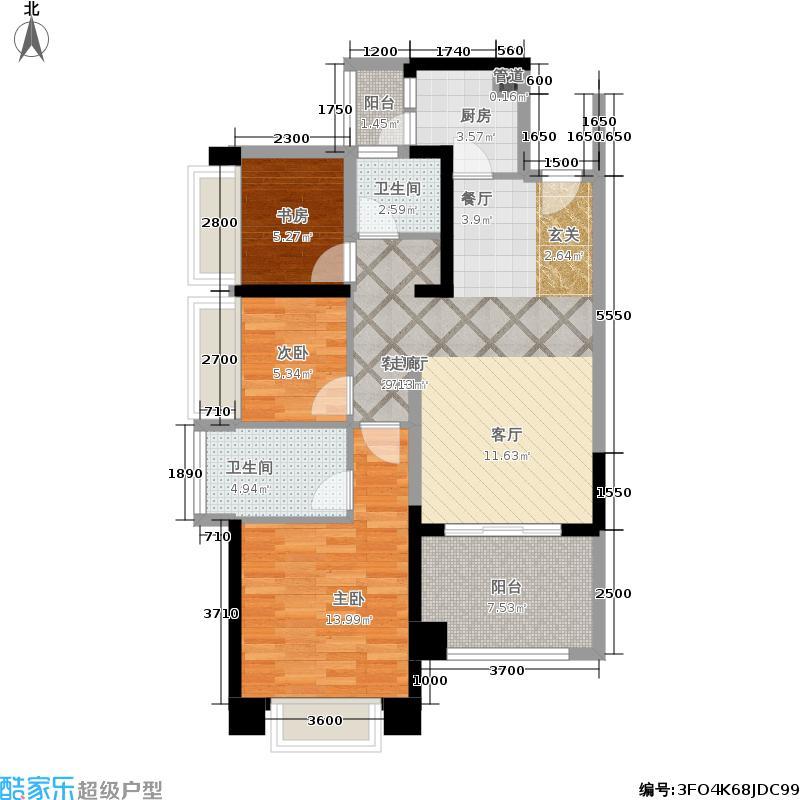 绿景公馆186689.00㎡绿景公馆1866户型图建筑面积约:89平米(6/8张)户型3室2厅2卫