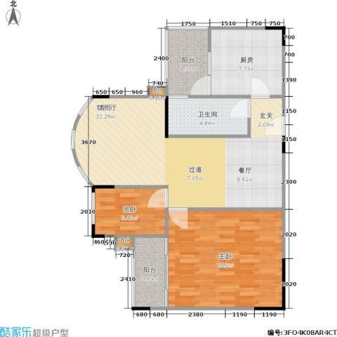 金科丽苑2室1厅1卫1厨75.00㎡户型图