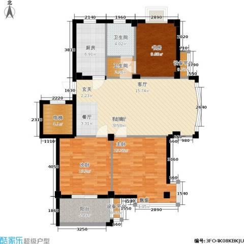 君悦龙庭3室1厅2卫1厨106.00㎡户型图