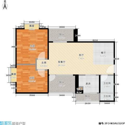 橡树园2室1厅2卫1厨74.56㎡户型图