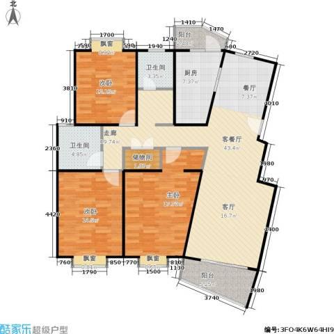 平盛苑3室1厅2卫1厨123.00㎡户型图