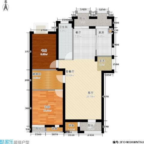 郡原居里2室1厅1卫1厨85.00㎡户型图