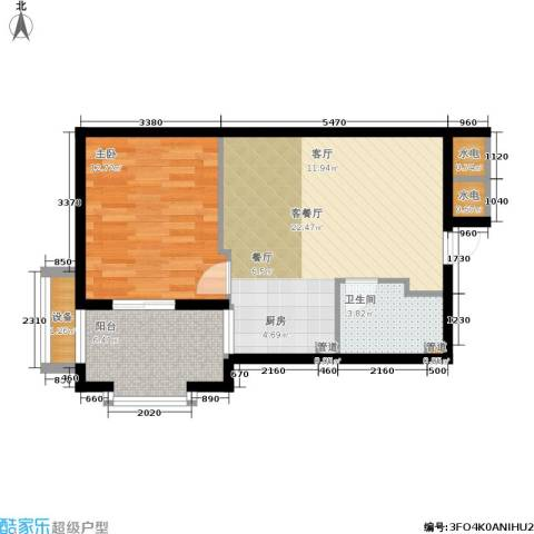 郡原居里1室1厅1卫0厨54.00㎡户型图