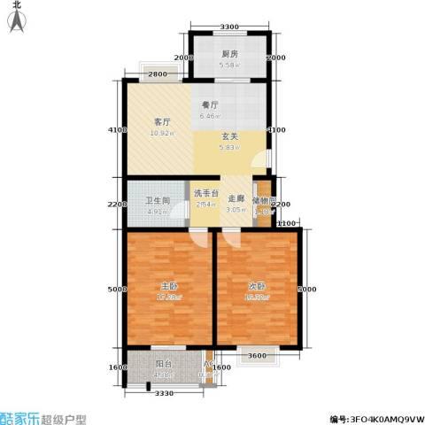楼观古镇2室1厅1卫1厨104.00㎡户型图
