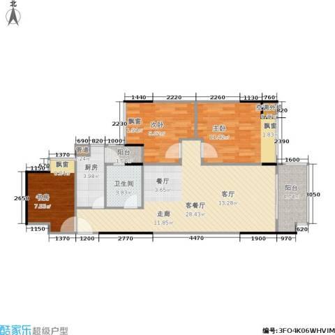 力迅原筑3室1厅1卫1厨97.00㎡户型图